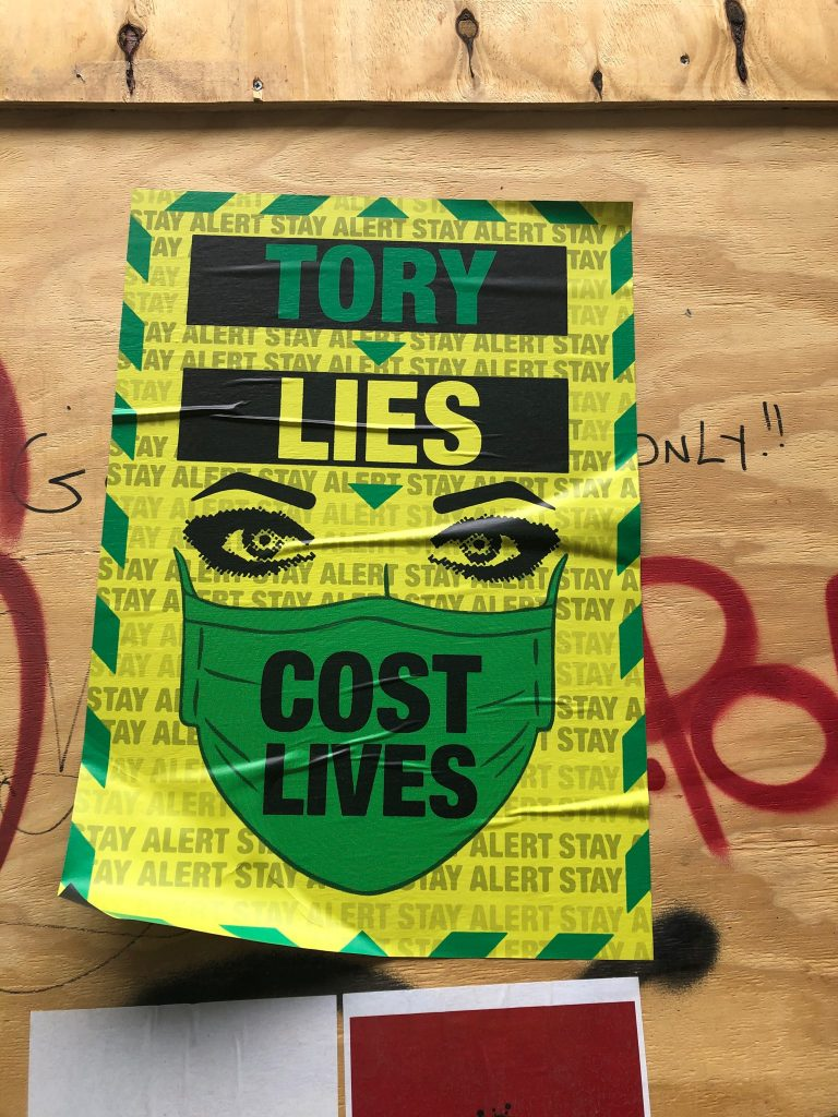 Tory Lies Cost Lives – Brick Lane Graffiti artwork